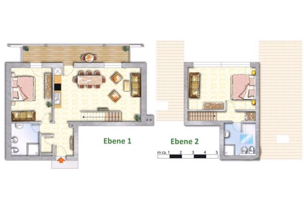 Dreamy apartments Austria: Floorplan App1+2 (90sqm)